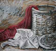Red Blanket, White Shirt, Woven Basket by Mathew Reed