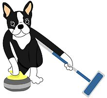 Boston Terrier Winter Olympics Curling by pounddesigns