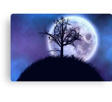 Big moon in the starry space and tree silhouette Canvas Print