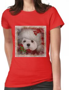 Snowdrop the Maltese on Christmas Eve Womens Fitted T-Shirt