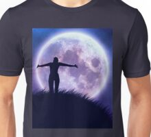 Big moon in the starry space and happy girl silhouette Unisex T-Shirt