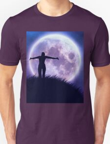 Big moon in the starry space and happy girl silhouette T-Shirt