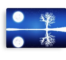 Big moon and white tree silhouette Canvas Print