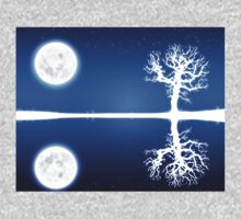 Big moon and white tree silhouette One Piece - Long Sleeve