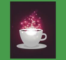 Illustration of cup of coffee with sparks background One Piece - Short Sleeve