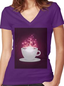 Illustration of cup of coffee with sparks background Women's Fitted V-Neck T-Shirt