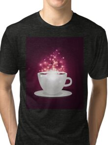 Illustration of cup of coffee with sparks background Tri-blend T-Shirt
