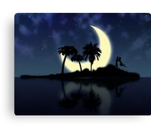 Abstract surreal tropical island silhouette and teen couple Canvas Print