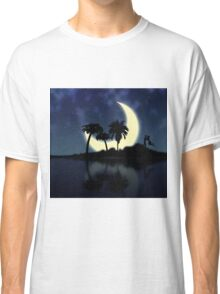Abstract surreal tropical island silhouette and teen couple Classic T-Shirt