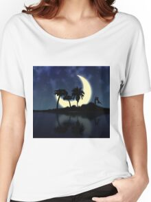 Abstract surreal tropical island silhouette and teen couple Women's Relaxed Fit T-Shirt