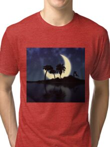 Abstract surreal tropical island silhouette and teen couple Tri-blend T-Shirt
