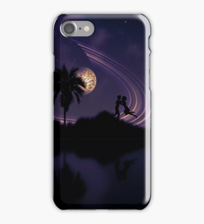 Abstract surreal tropical island silhouette and teen couple 2 iPhone Case/Skin