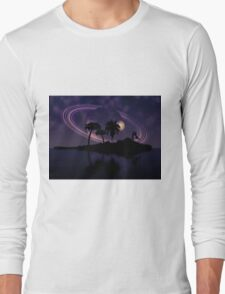 Abstract surreal tropical island silhouette and teen couple 2 Long Sleeve T-Shirt