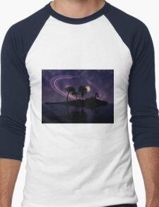 Abstract surreal tropical island silhouette and teen couple 2 Men's Baseball ¾ T-Shirt