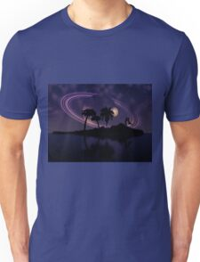Abstract surreal tropical island silhouette and teen couple 2 Unisex T-Shirt