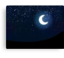 Illustration of night sky with stars and crescent moon Canvas Print