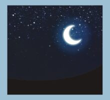 Illustration of night sky with stars and crescent moon Kids Tee