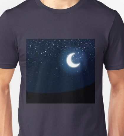 Illustration of night sky with stars and crescent moon Unisex T-Shirt