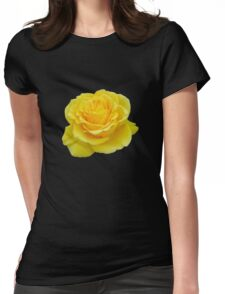 Beautiful Yellow Rose Closeup Isolated On White Womens Fitted T-Shirt