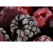 frozen raspberries Photographic Print
