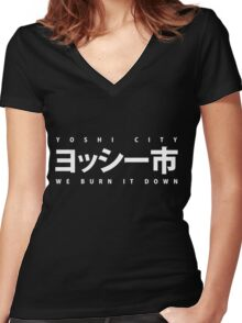 YOSHI市 White Women's Fitted V-Neck T-Shirt