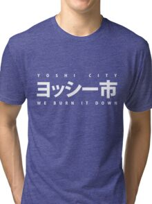 YOSHI市 White Tri-blend T-Shirt