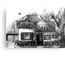 Doodle House Pen and Ink Metal Print