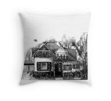 Doodle House Pen and Ink Throw Pillow