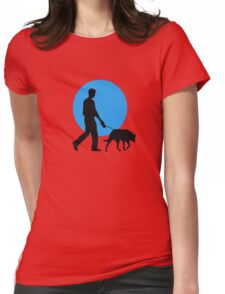 DOG WALKING MOON  Womens Fitted T-Shirt