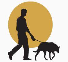 DOG WALKING SUNSET Baby Tee