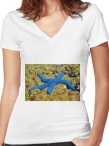 Blue Sea Star (Linckia Laevigata) Women's Fitted V-Neck T-Shirt