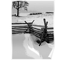 Snow on Wheatfield Road, Gettysburg Battlefield Poster