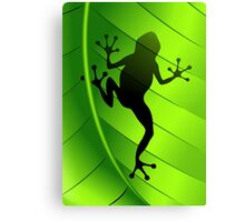 Frog Shape on Green Leaf Canvas Print
