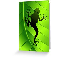 Frog Shape on Green Leaf Greeting Card