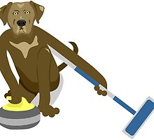 Chocolate Lab Curling by pounddesigns