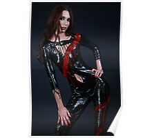 Liquid Latex Dress - black and red Poster