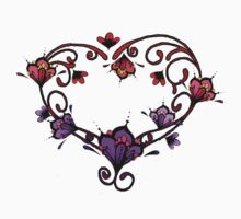 Henna Style Violet Lavender Red and Pink Flower Heart Kids Clothes