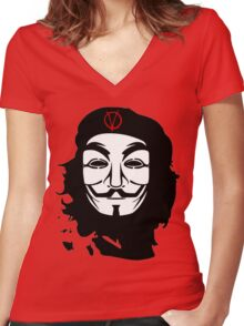 Che Guevara Anonymous Women's Fitted V-Neck T-Shirt