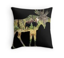 Moose in silhouette Throw Pillow