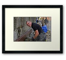 Brian the builder doing a great job at Lyme Harbour............ Framed Print