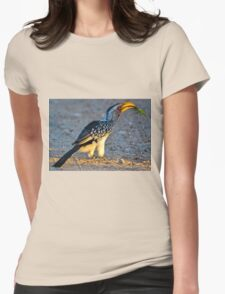 Yellow-Billed Hornbill with Lunch (Tockus leucomelas) Womens Fitted T-Shirt