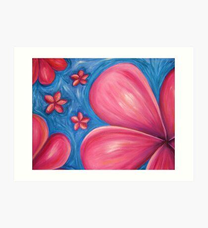 Pink floating frangipanis Art Print