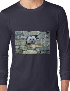 Snowdrop the Maltese - Peek-a-Boo - I Can See You ! Long Sleeve T-Shirt