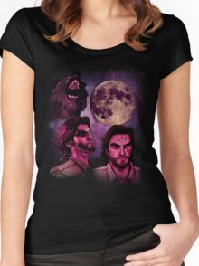 Three Bigby Wolf Moon Women's Fitted Scoop T-Shirt