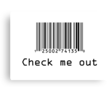Check Me Out (Barcode) Canvas Print