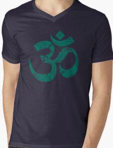 OM Yoga Spiritual Symbol in Distressed Style Mens V-Neck T-Shirt
