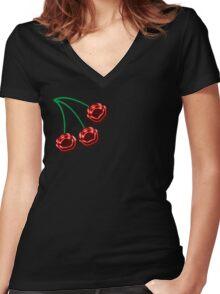 Retro cherry Women's Fitted V-Neck T-Shirt