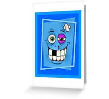 Smiley Beat-up Monster Face Greeting Card