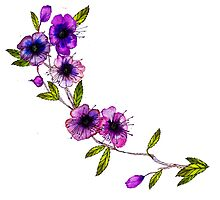 Watercolor Purple cherry blossoms by wildwildwest