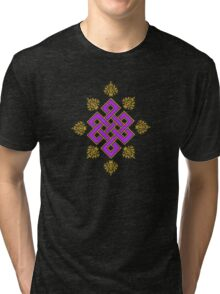 Tibet Mystical Endless Knot with Lotuses Tri-blend T-Shirt